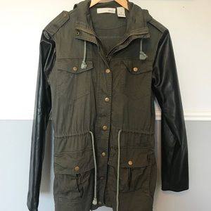 Kersh Utility Jacket with Faux Leather Sleeves